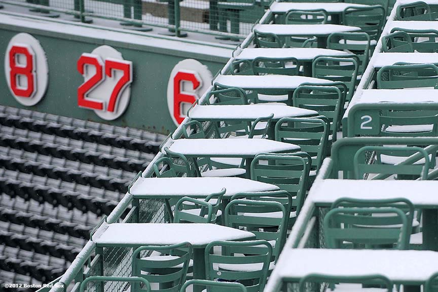 """Snow falls onto the right field deck at Fenway Park in Boston, Massachusetts Saturday, December 1, 2012."""