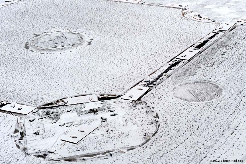 """""""Snow falls onto the infield at Fenway Park in Boston, Massachusetts Saturday, December 1, 2012."""""""