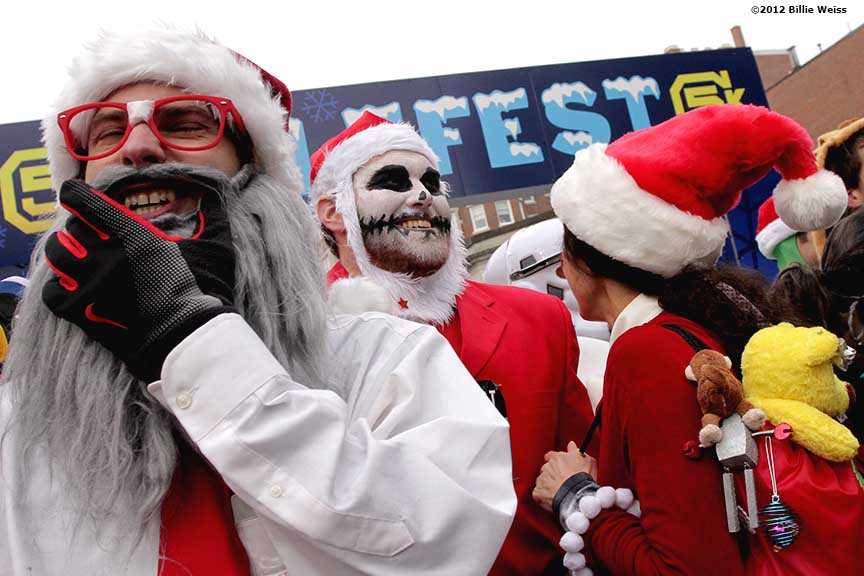 """Guests participate in a costume contest during Yulefest, a holiday themed 5K race in Cambridge, Massachusetts Sunday, December 2, 2012."""