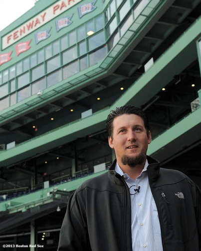 """Pitcher Joel Hanrahan takes a ballpark tour as he visits Fenway Park for the first time as a member of the Boston Red Sox Tuesday, January 8, 2013. The closer was recently acquired by the Red Sox from the Pittsburgh Pirates."""