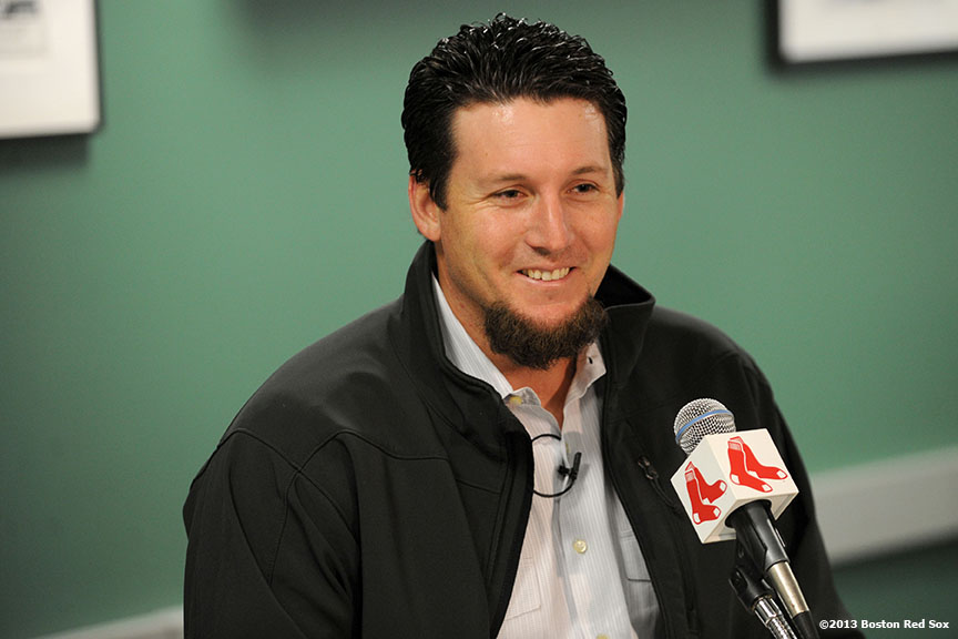 """Pitcher Joel Hanrahan gives a press conference at Fenway Park for the first time as a member of the Boston Red Sox Tuesday, January 8, 2013. The closer was recently acquired by the Red Sox from the Pittsburgh Pirates. """