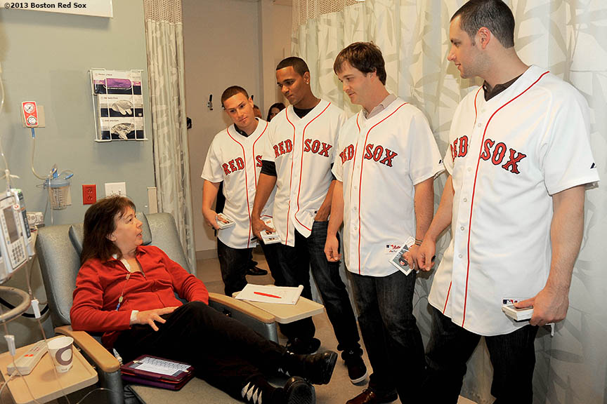 """Boston Red Sox rookies visit a patient in the Jimmy Fund clinic at the Dana Farber Cancer Institute in Boston, Massachusetts Wednesday, January 9, 2013. The group of top Red Sox prospects spent time in Boston this winter to get accustomed to the city and meet with Red Sox personnel."""