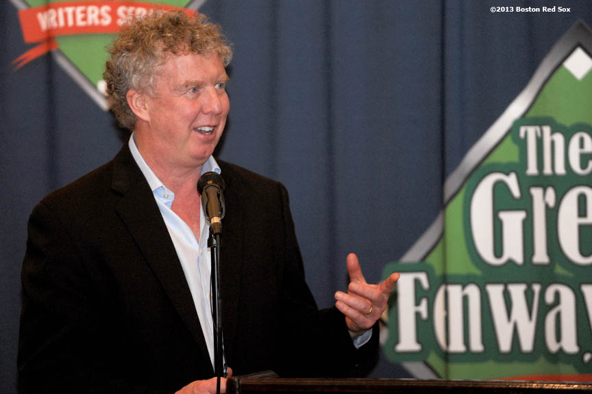 """Boston Globe sports columnist Dan Shaughnessy speaks during a retirement dinner for 44-year Boston Globe sports writer Bob Ryan. The dinner was hosted by the Great Fenway Park Writers Series at Hotel Commonwealth in Kenmore Square. In attendance were various Red Sox personnel, including Owner John Henry, and other friends and colleagues of Ryan's."""