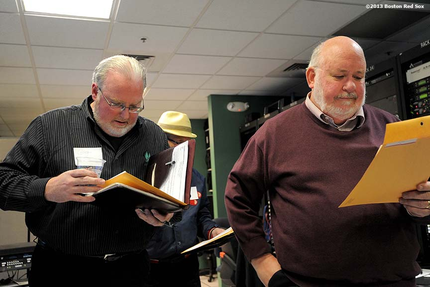 """An applicant reads a script during an audition in Fenway Park's control room for the next Public Address Announcer of the Boston Red Sox Wednesday, January 23, 2013."""