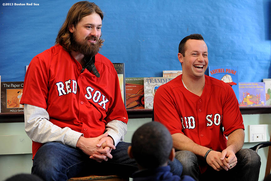 """Boston Red Sox pitcher Andrew Miller and outfielder Daniel Nava appeared at the Mather School in Dorchester, MA to visit classrooms, answer questions, and pose for photographs. The Mather School , founded in 1639, is the oldest public elementary school in the United States."""