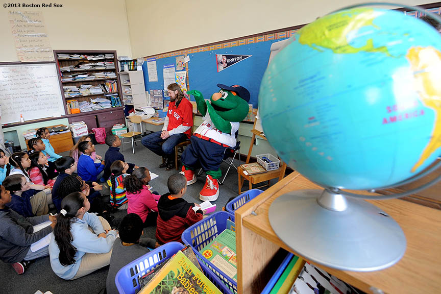 """Boston Red Sox pitcher Andrew Miller (left) and outfielder Daniel Nava (right) answer questions during a visit to the Mather School in Dorchester, Massachusetts Friday, January 25, 2013. The Mather School , founded in 1639, is the oldest public elementary school in the United States."""