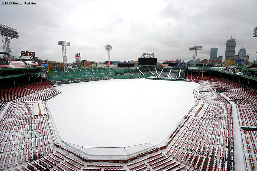 """Fenway Park is shown covered in snow Monday, February 11, 2013 after Winter Storm Nemo dumped over twenty inches of snow on Boston, Massachusetts."""
