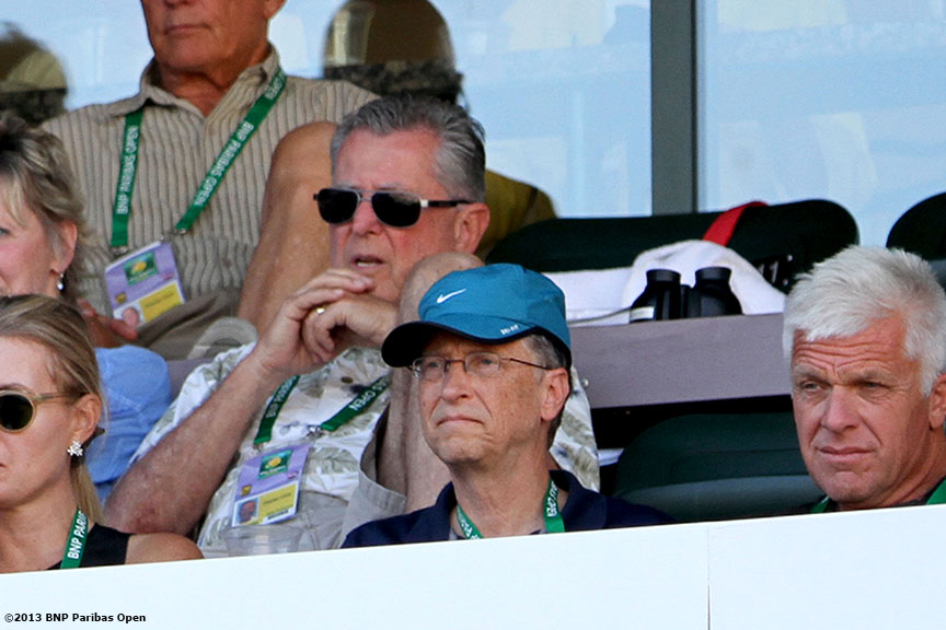 """Bill Gates watches a semifinal match between Novak Djokovic and Juan Martin Del Potro Saturday, March 16, 2013 at the BNP Paribas Open in Indian Wells, California."""