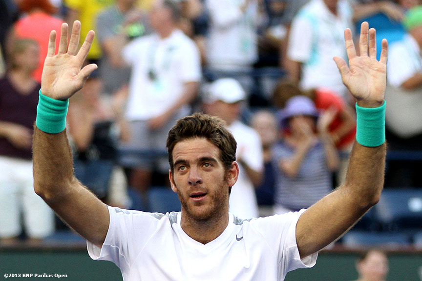 """Juan Martin Del Potro reacts after defeating Andy Murray in the quarterfinals Friday, March 15, 2013 at the BNP Paribas Open in Indian Wells, California."""