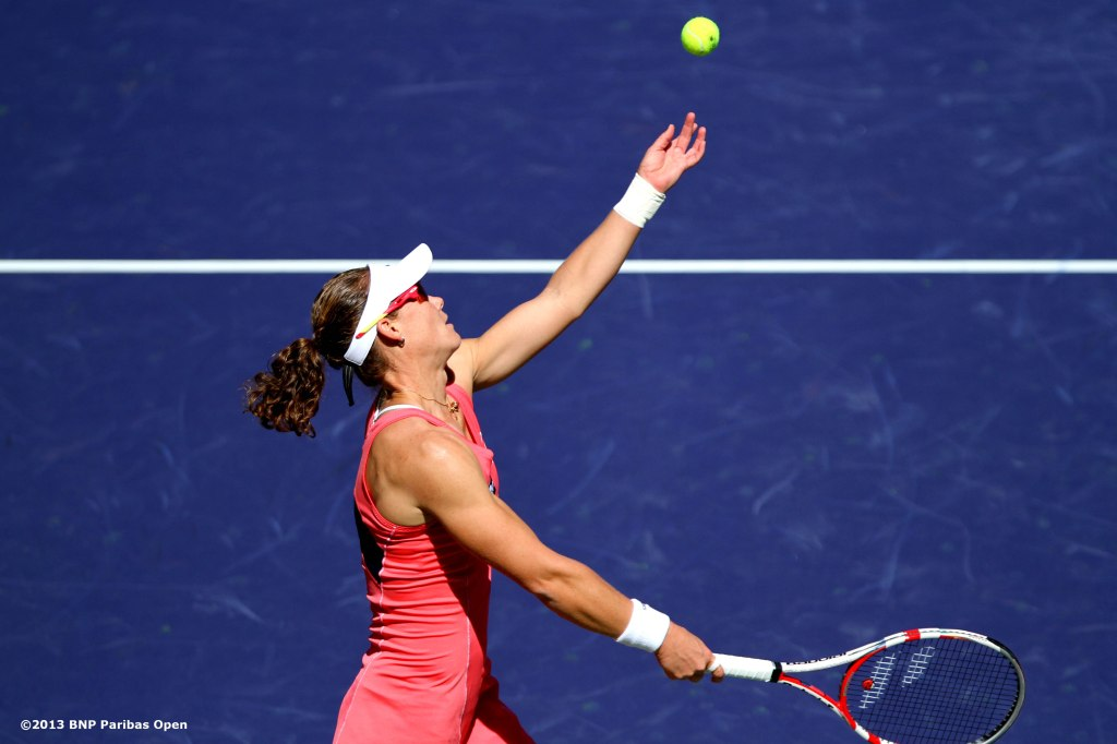 """Samantha Stosur serves during her match against Madison Keys Saturday, March 9, 2013 at the BNP Paribas Open in Indian Wells, California."""