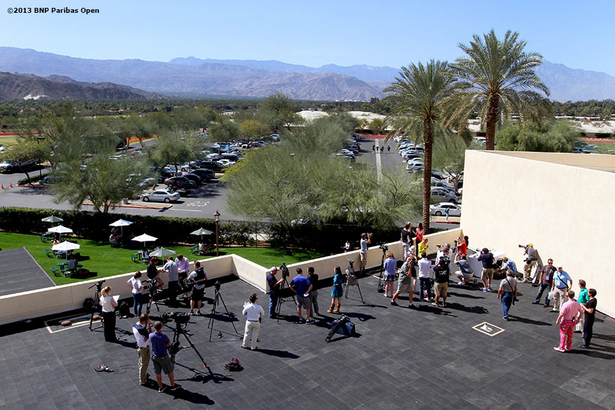 """Members of the media gather on the rooftop of Stadium One at the Indian Wells Tennis Garden in Palm Springs, California for WTA All-Access Day on day one of the BNP Paribas Open Wednesday, March 6, 2013."""