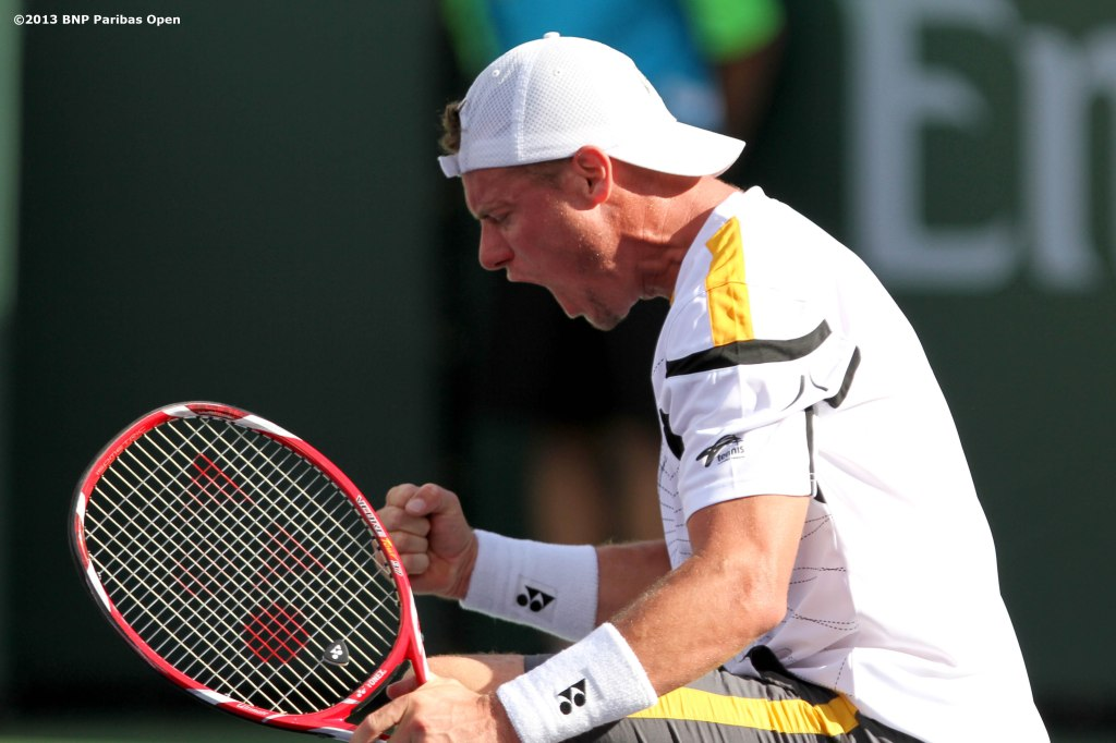 """Lleyton Hewitt celebrates after defeating John Isner in three sets Saturday, March 9, 2013 at the BNP Paribas Open in Indian Wells, California."""