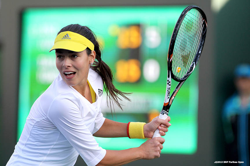 """Ana Ivanovic returns a shot during her match against Taylor Townsend Saturday, March 9, 2013 at the BNP Paribas Open in Indian Wells, California."""