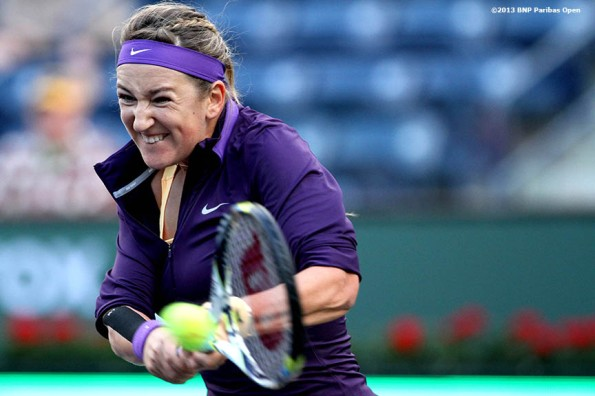 """Victoria Azarenka hits a backhand during her match against Daniela Hantuchova Saturday, March 9, 2013 at the BNP Paribas Open in Indian Wells, California."""