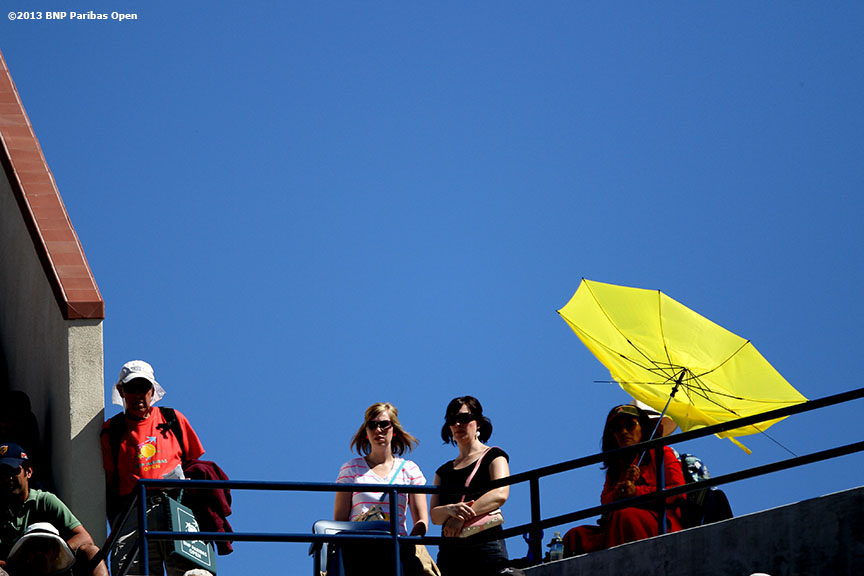 """Fans take in a tennis match from the upper levels of Stadium One Sunday, March 10, 2013 at the BNP Paribas Open in Indian Wells, California."""