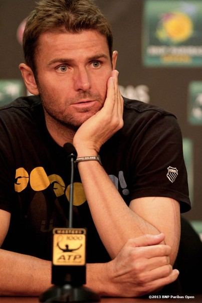 """Mardy Fish addresses the media during a press conference Sunday, March 10, 2013 at the BNP Paribas Open in Indian Wells, California."""