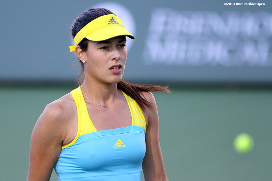 """Ana Ivanovic reacts during her match against Mona Barthel Monday, March 11, 2013 at the BNP Paribas Open in Indian Wells, California."""