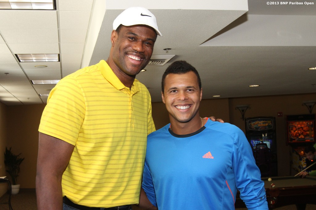 """NBA Hall of Famer David Robinson poses with Jo-Wilfried Tsonga Tuesday, March 12, 2013 at the BNP Paribas Open in Indian Wells, California."""