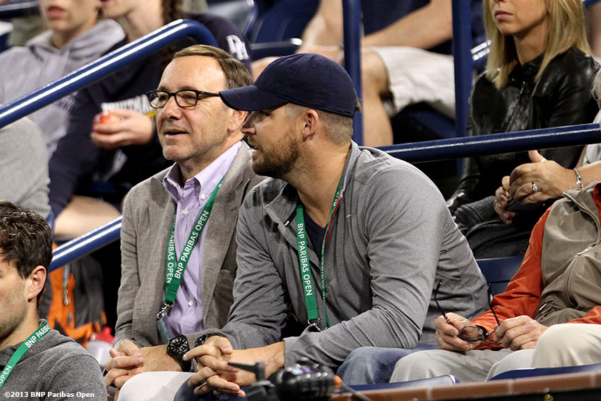 """Actor Kevin Spacey takes in a tennis match Wednesday, March 13, 2013 at the BNP Paribas Open in Indian Wells, California."""