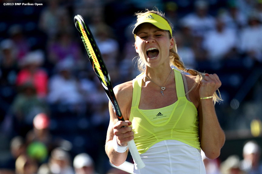 """Maria Kirilenko reacts after defeating Petra Kvitova in three sets Wednesday, March 13, 2013 at the BNP Paribas Open in Indian Wells, California."""