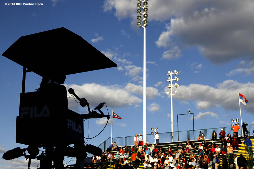 """The chair umpire booth on stadium two is shown Saturday, March 9, 2013 at the BNP Paribas Open in Indian Wells, California."""