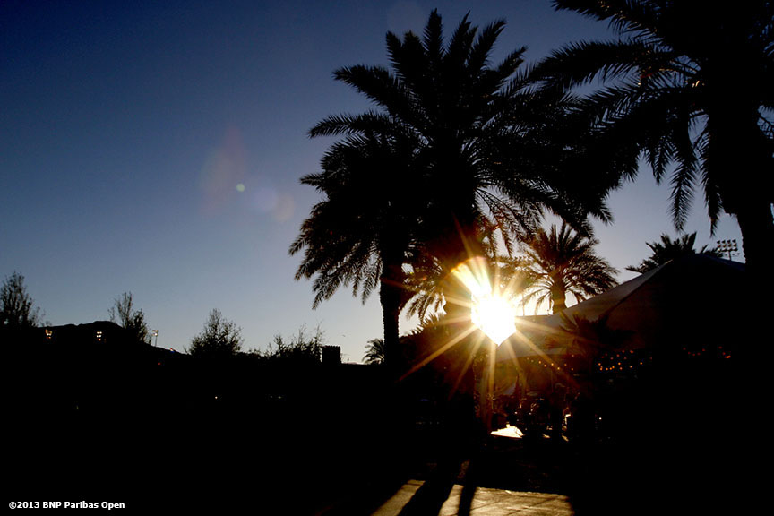 """Sun sets over the grounds of the Indian Wells Tennis Garden Monday, March 11, 2013 at the BNP Paribas Open in Indian Wells, California."""