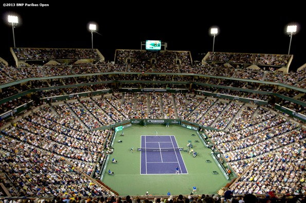 """A full stadium at the Indian Wells Tennis Garden is shown during a match between Roger Federer and Rafael Nadal Thursday, March 14, 2013 at the BNP Paribas Open in Indian Wells, California."""