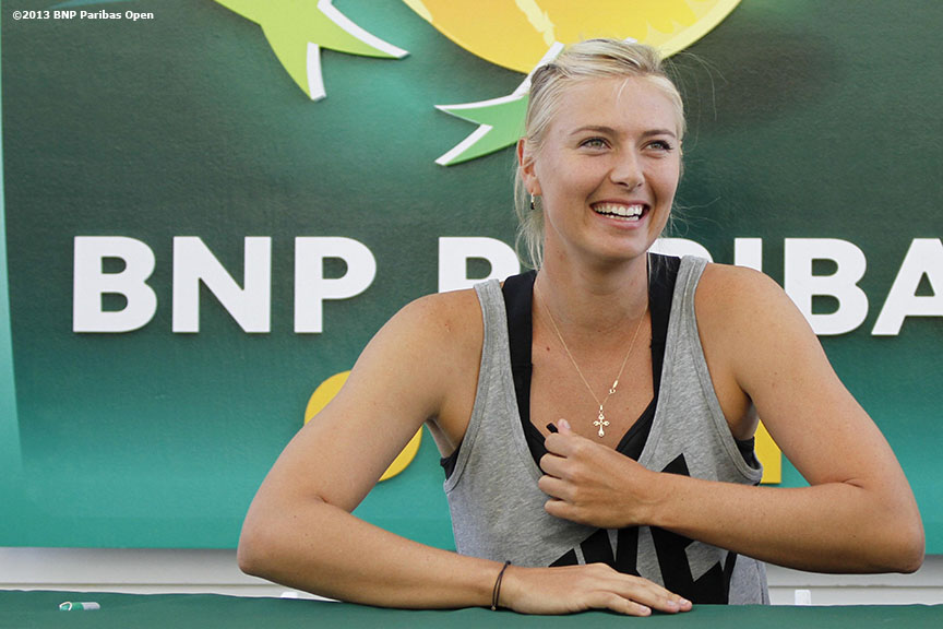 """Maria Sharapova hosts a promotion for 'Sugarpova,' her line of gummy candies, at the Indian Wells Tennis Garden in Palm Springs, California on day one of the BNP Paribas Open Wednesday, March 6, 2013."""