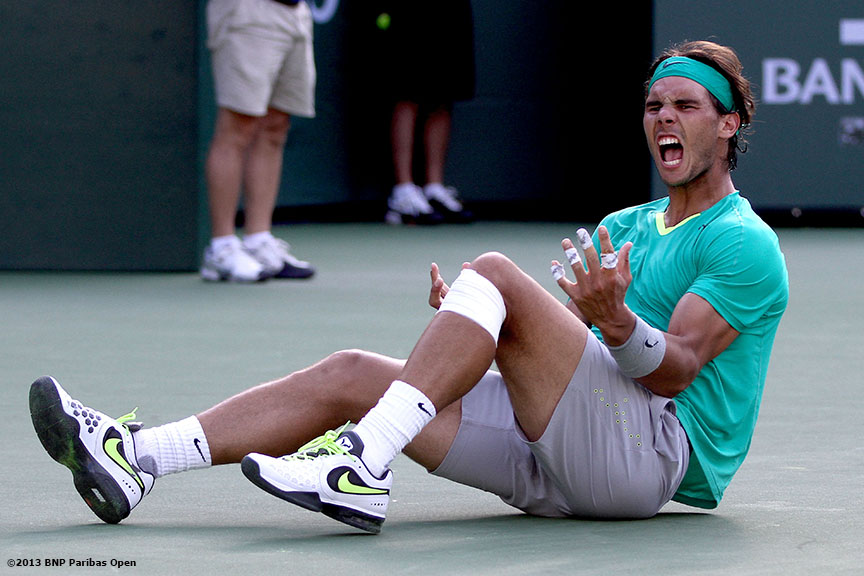 """Rafael Nadal reacts after defeating Juan Martin Del Potro in the championship Sunday, March 18, 2013 at the BNP Paribas Open in Indian Wells, California."""