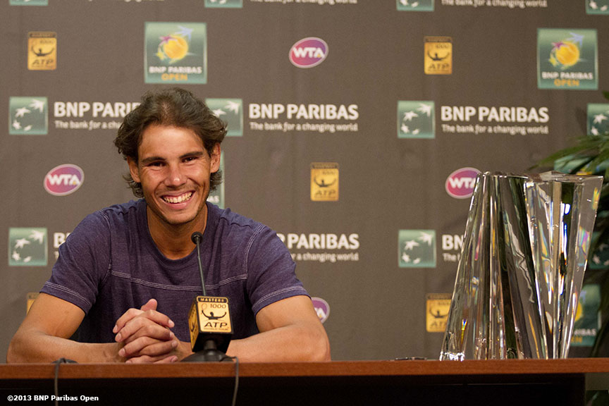 """Rafael Nadal gives a press conference after winning the BNP Paribas Open Sunday, March 18, 2013 in Indian Wells, California."""
