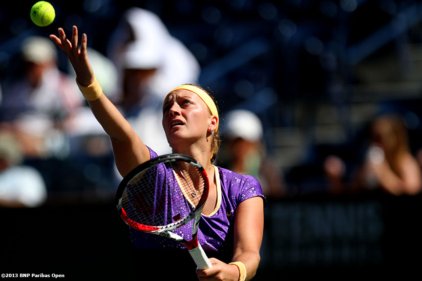 """Petra Kvitova serves during her match against Maria Kirilenko Wednesday, March 13, 2013 at the BNP Paribas Open in Indian Wells, California."""