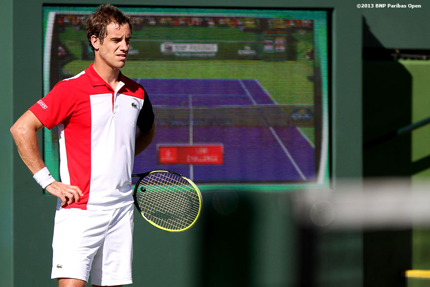 """Richard Gasquet reacts during his match against Tomas Berdych Wednesday, March 13, 2013 at the BNP Paribas Open in Indian Wells, California."""