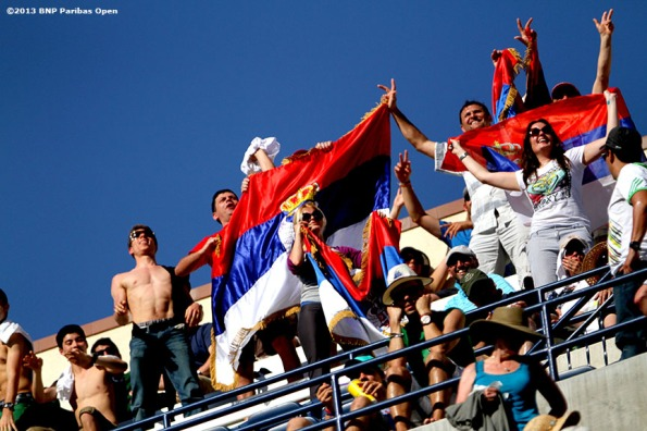 """Fans show their support for Novak Djokovic Saturday, March 16, 2013 at the BNP Paribas Open in Indian Wells, California."""