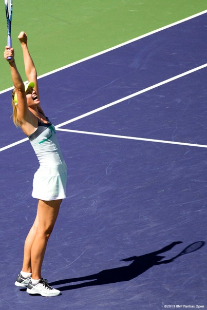"""Maria Sharapova reacts after winning the BNP Paribas Open championship match against Caroline Wozniacki Sunday, March 18, 2013 in Indian Wells, California."""