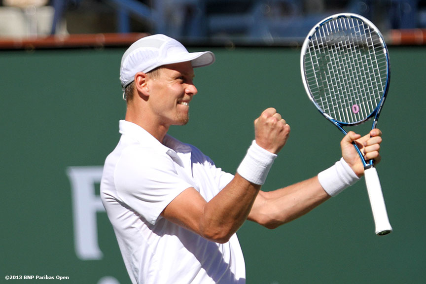 """Tomas Berdych reacts after defeating Kevin Anderson Thursday, March 14, 2013 at the BNP Paribas Open in Indian Wells, California."""