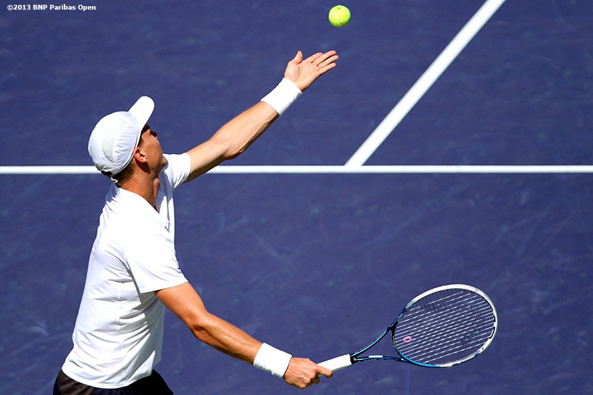 """Tomas Berdych serves during his semifinal match against Rafael Nadal Saturday, March 16, 2013 at the BNP Paribas Open in Indian Wells, California."""