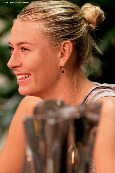 """Maria Sharapova gives a press conference after winning the BNP Paribas Open championship Sunday, March 18, 2013 in Indian Wells, California."""
