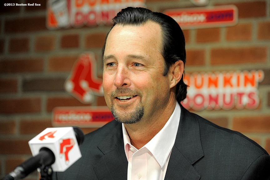 """Former Boston Red Sox pitcher Tim Wakefield gives a press conferences to announce his return to the organization as the Honorary Chariman of the Red Sox Foundation and Special Assignment Instructor Friday, April 12, 2013 at Fenway Park."""