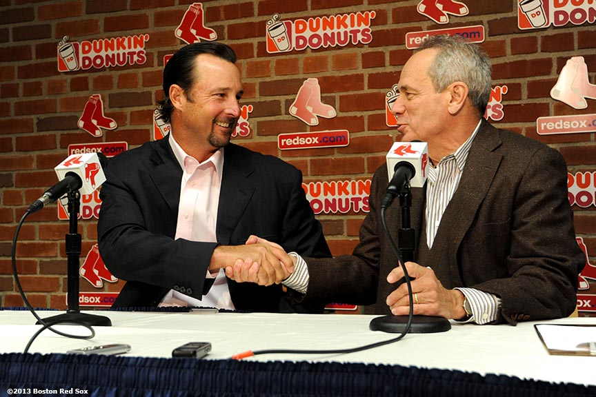 Boston Red Sox President & CEO Larry Lucchino introduces former pitcher Tim Wakefield as the Honorary Chariman of the Red Sox Foundation and Special Assignment Instructor Friday, April 12, 2013 at Fenway Park in Boston, Massachusetts.""