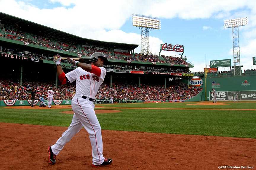 """""""Boston Red Sox outfielder Jackie Bradley Jr. waits in the on-deck circle during the third inning of a game against the Tampa Bay Rays Sunday, April 14, 2013 at Fenway Park in Boston, Massachusetts."""""""