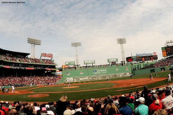 """Fenway Park is shown during a game between the Boston Red Sox and the Tampa Bay Rays Monday, April 15, 2013."""