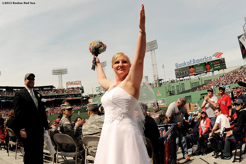 """Jeff Mahoney and Althia Wait of Medford, Massachusetts, were married before a game between the Boston Red Sox and the Tampa Bay Rays Monday, April 16, 2013 at Fenway Park in Boston, Massachusetts."""