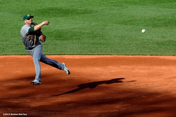 """Oakland Athletics second baseman Andy Parrino throws to first base during a game against the Boston Red Sox Wednesday, April 24, 2013 at Fenway Park in Boston, Massachusetts."""