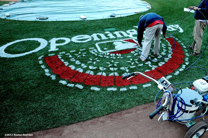"""The Opening Day logo is prepared behind home plate at Fenway Park before the 2013 Boston Red Sox home opener Saturday, April 6, 2013."""