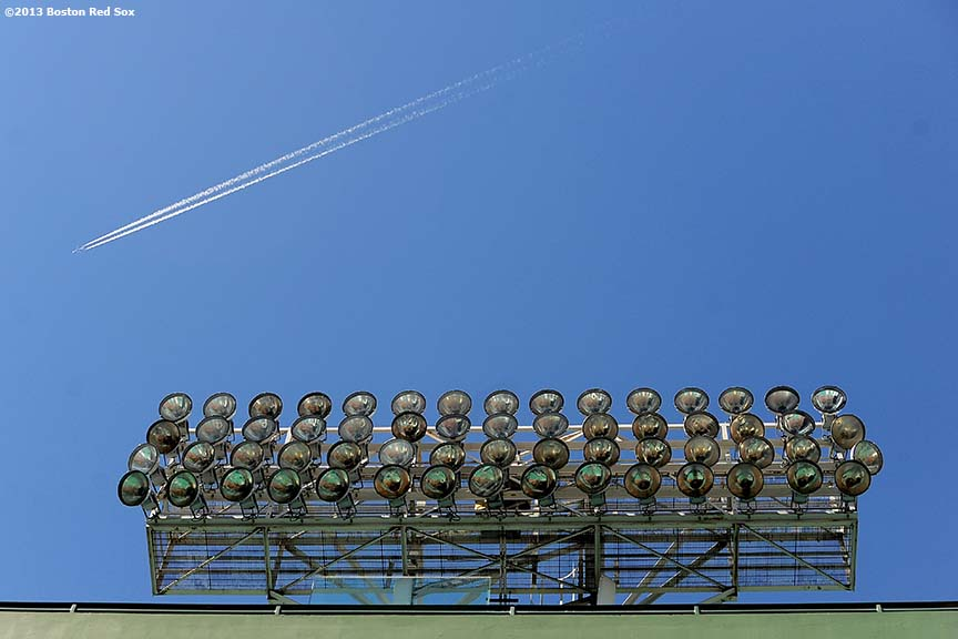 """Lights are shown at Fenway Park before the 2013 Boston Red Sox home opener March 27, 2013."""