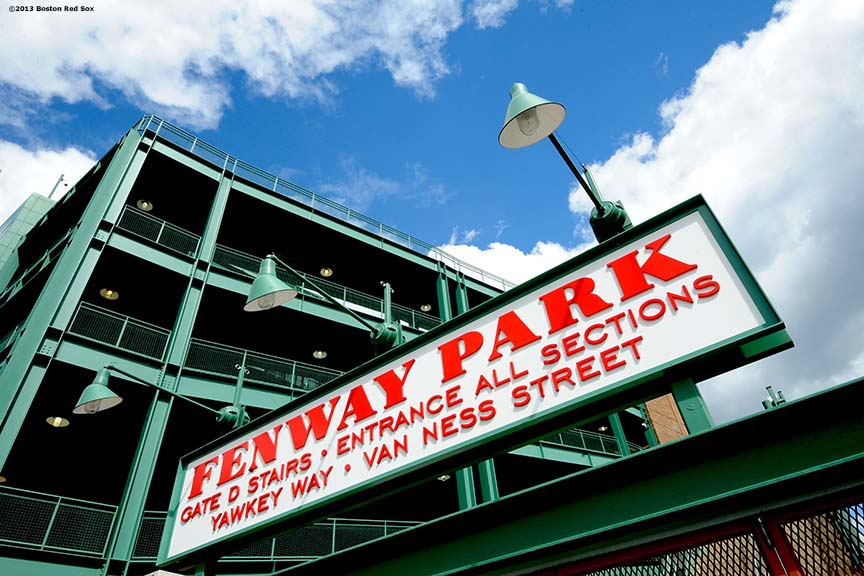 """The Gatde D entrance to Fenway Park is shown before the 2013 Boston Red Sox home opener Wednesday, March 27, 2013."""