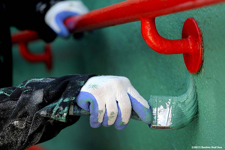 """An entranceway along Fenway Park's right field line is painted in preparation for the 2013 Boston Red Sox home opener March 27, 2013."""