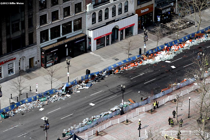 April 15, 2013 - Boston, Massachusetts, United States: Debris on Boylston Street is shown after two bombs were detonated at the finish line of the 2013 Boston Marathon. (Billie Weiss)
