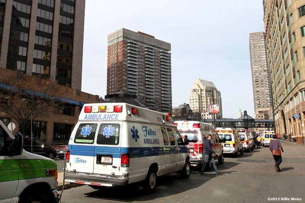 Ambulances line the street near Copley Square after two bombs were detonated at the finish line of the 2013 Boston Marathon.