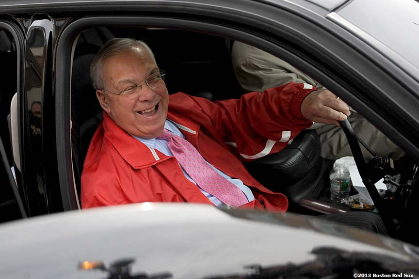 """Thomas M. Menino, Mayor of Boston, arrives at Fenway Park Friday, April 5, 2013 to take a tour of the stadium before the 2013 Boston Red Sox home opener."""